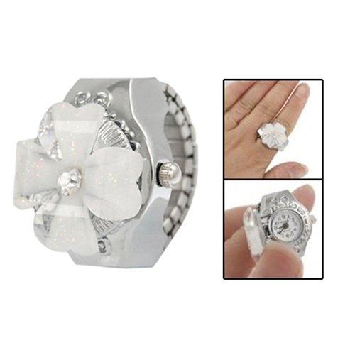 SODIAL(R) Orologio anello quadrante rotondo coperchio bianco per donna