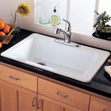 American Standard Lakeland 33 Inch Americast Large Single Bowl Kitchen Sink White