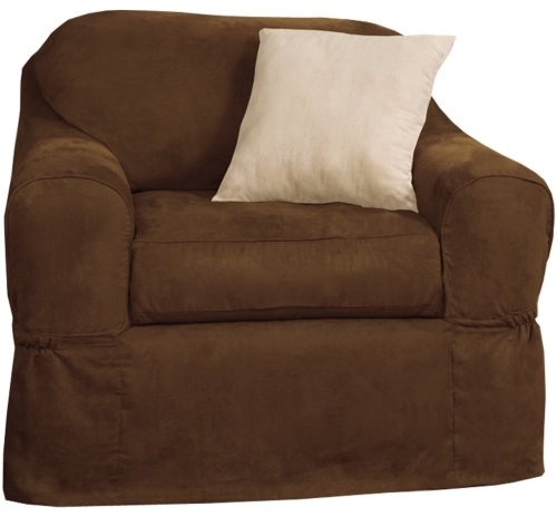 Maytex Piped Suede 2-Piece Slipcover Chair, Brown front-532474