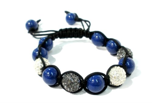 Shamballa Macrame Bracelet with Four 12mm Paves Silver Crystal and Gunmetal Black Diamond Paves with 12mm Smooth Blue Agate Unisex Adjustable-handmade