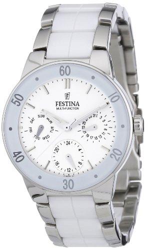 Festina F16530/1 - Reloj analógico de cuarzo para mujer con correa de acero inoxidable, color multicolor