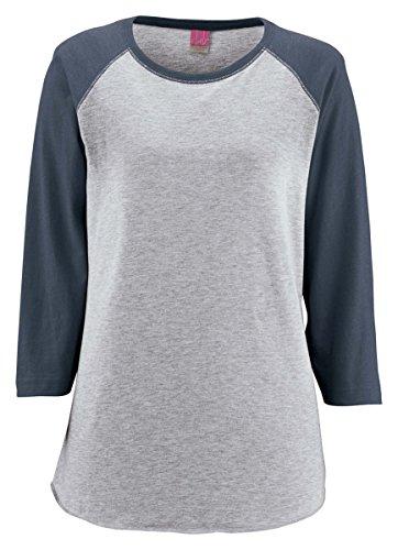 LAT Ladies' Vintage Fine Jersey Baseball T-Shirt M Vn Hthr/Vn Navy