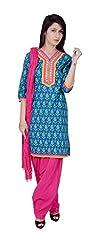 Rama Jaipuri Printed Designer 3/4 Sleeve Turquoise Color knee length Kurti