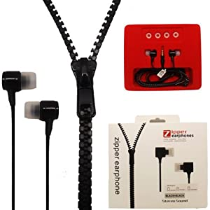 Black   Stereo Sound Zip Zipper Zippre In Ear Earphone Hands free Headphones Headset Fabric Insulated For Samsung Galaxy S Duos 2 S7582 available at Amazon for Rs.449