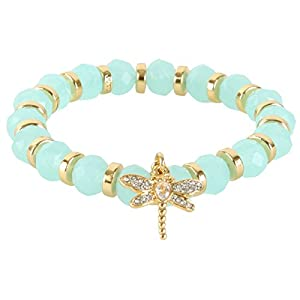 Juicy Couture Stretch Beaded Friendship Pave Dragon Fly Bracelet- Light Blue
