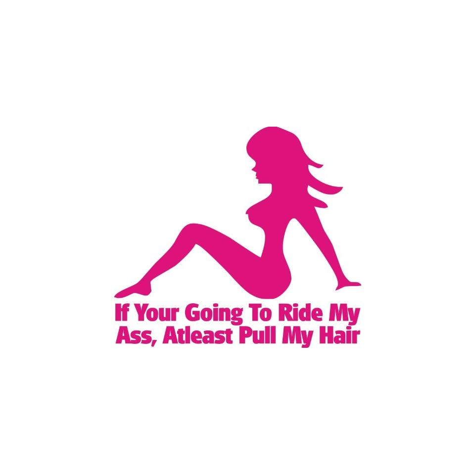 If Youre Going to Ride My Ass At Least Pull My Hair Funny Decal (6 Inch in HOT PINK) Decal for car, laptop, window, Etc. WITH