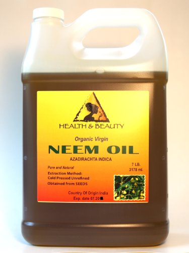 Neem Oil Virgin Organic Carrier Unrefined Cold Pressed 128 Oz, 7 Lb, 1 Gal front-1012445