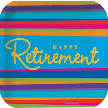 Retirement Stripes Dessert Plates 8ct