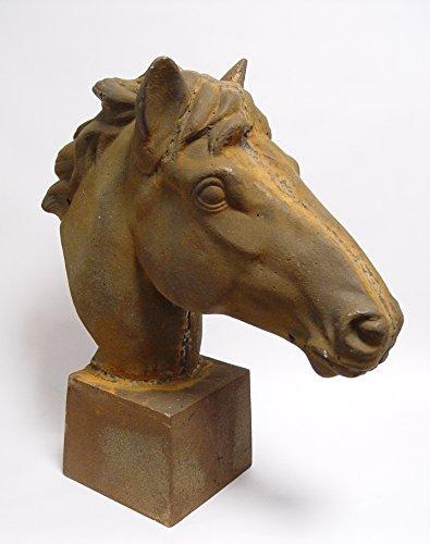 Sculpture tête de cheval décorative en forme de buste métal vieilli style campagne 21,2 x 57,5 x 63 cm