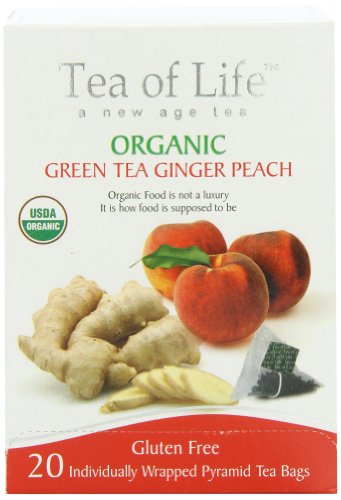 Tea Of Life Organic Green Tea, Ginger Peach, 20 Count