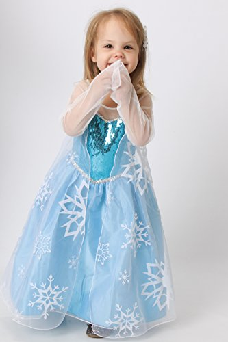 Elsa Frozen Snow Queen Snowflake Dress Costume (7-8) - 1