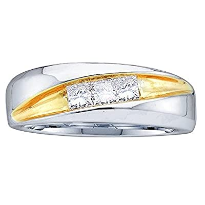 0.50 Carat (ctw) 14K White Gold Princess Cut White Diamond Men's Invisible Anniversary Band 1/2 CT
