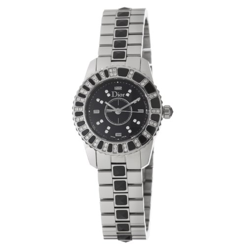 Christian Dior Women's CD112116M001 Christal Black Dial Diamond Watch