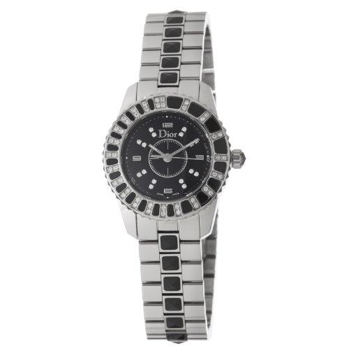 Christian Dior Women's CD112116M001 Christal Black Dial Diamond Watch