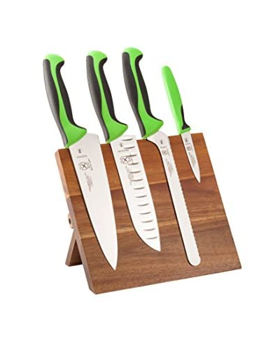 Mercer Culinary 5-Piece Millennia Knife & Magnetic Acacia Board Set, Green