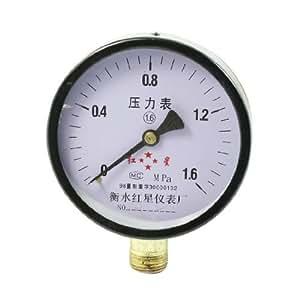 M20x1.5mm Thread Black Round Air Water Pressure Gauge 1.6 Mpa