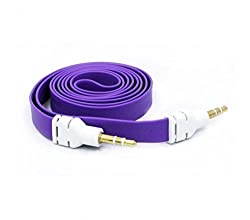 1m Purple 3.5mm Male to Male Flat Noodle Audio Extension AUX Cable Adapter for Pc Phone Car Ipods