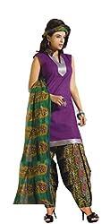 Kamal Women's Cotton Purple Printed Dress Material
