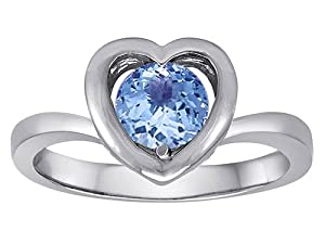 Original Star K(tm) Heart Engagement Promise of Love Ring with 7mm Round Simulated Aquamarine in 925 Sterling Silver Size 6