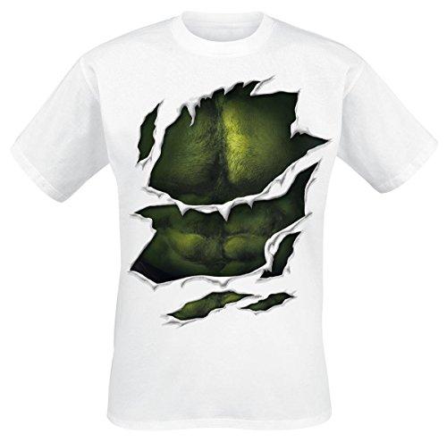 Hulk - T-Shirt Marvel con motivo Suit - Maglietta del super eroe degli Avengers con muscolatura del petto- Girocollo - Cotone - Bianco - M