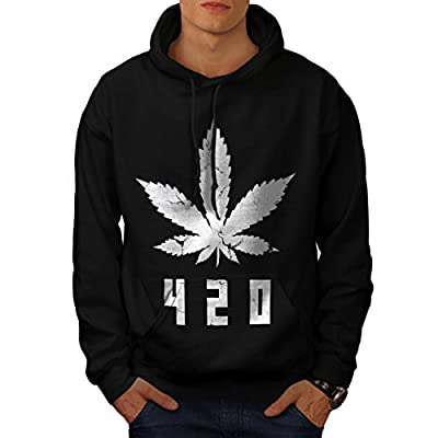 White Cannabis Leaf Weed Plant Men NEW Black S-5XL Hoodie | Wellcoda