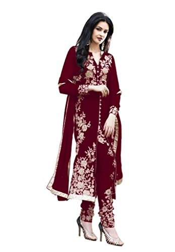 Sanjana Design Women\'s fashino Georgette dress material ( KS4004_Free Size_Broun)
