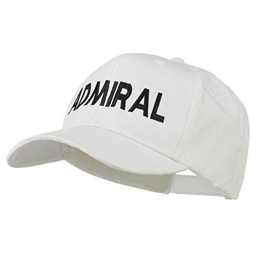 Admiral Embroidered Cotton Twill Cap - White OSFM (Admiral Cap compare prices)