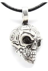 Pewter Skull Maori Tribal Gothic Pendant, Leather Necklace