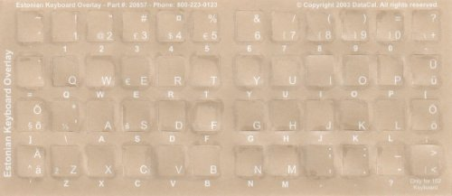 Estonian Keyboard Stickers - Labels - Overlays With White Characters For Black Computer Keyboard