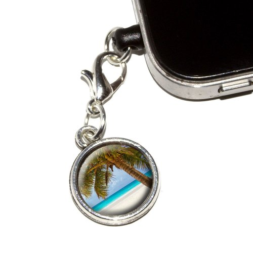 Graphics And More Tropical Palm Tree Ocean Beach Anti-Dust Plug Universal Fit 3.5Mm Earphone Headset Jack Charm For Mobile Phones - 1 Pack - Non-Retail Packaging - Antiqued Silver