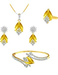 YouBella Signature Collection American Diamond Combo Of Pendant Set / Necklace Set With Earrings, Bracelet And...