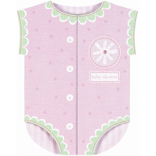 Pink Onesie Jumbo Baby Shower Invitations 8ct