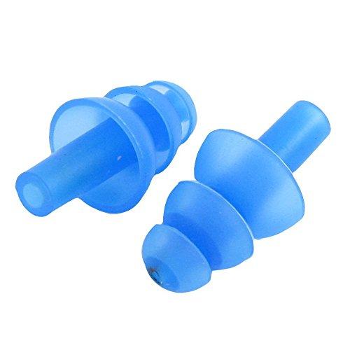 SODIAL(R)1 Paar Schwimmen Flexibler Silikon Ohrstoepsel - Blau