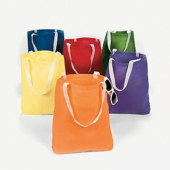 Large Canvas Bright Tote Bags (1 dz)