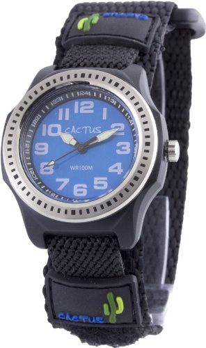 Cactus Children's Quartz Watch with Blue Dial Analogue Display and Black Fabric and Canvas Strap CAC-45-M03