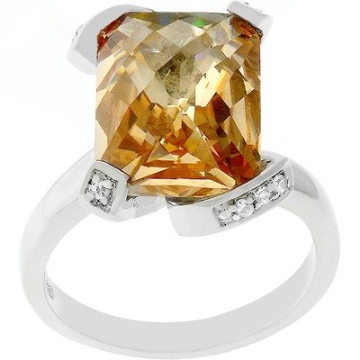 Silver-Tone Emerald Cut Champagne Cubic Zirconia Engagement Ring Size: 5