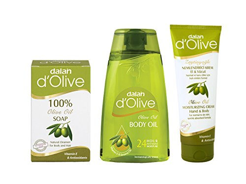 DALAN D'Olive Gift Combo Pack - 100% Pure Olive Oil Soap, Body Oil With Olive & Sesame Oil And Hand & Body Cream...