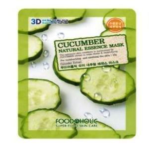 Foodaholic 1Pc Natural Cucumber Fresh Facial Essence Mask Sheet 1 Pc (1Pcs=23Ml , 1 Sheet) Made In Korea , Korean Cosmetics