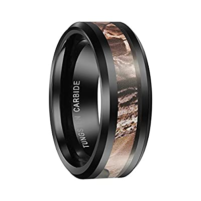 Queenwish 8mm Black Tungsten Carbide Mens Ring Camo Camouflage Hunting Wedding Band Size 6-13