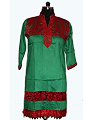 Visaga Women's Cotton Straight Kurti With Net Work - B00UMWF0UG