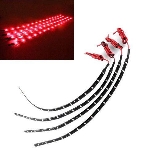Cisno New 4Pcs Dc 12V Waterproof Flexible Red Led Light Lamb Strip Decoration For Car Motorcycle