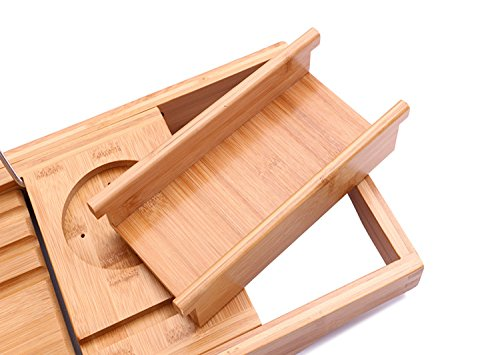HiCollie Craft Natural Bamboo Bathtub Caddy /Bath Tub Tray Organizer ...
