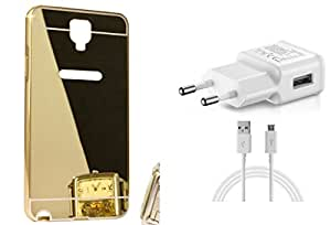 KES Combo Charger & Mirror Back Cover Samsung Galaxy Note 3 Neo Gold