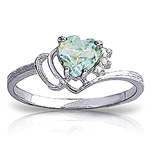 0.97 Carat 14k Solid White Gold Ring with Natural Diamonds and Heart-shaped Aquamarine - Size 9