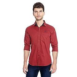 FlyJohn Meroon (Red) Cotton Silk Men's Shirt