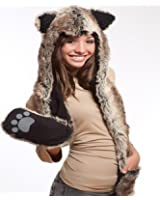 Wolf Full Hood 3in1 Hat/Scarf/Mittens Faux Fur with Fleece Lining
