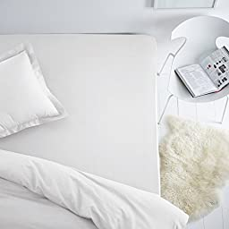 La Redoute Stretch Cotton Jersey Fitted Sheet White Size 120 X 190 Cm
