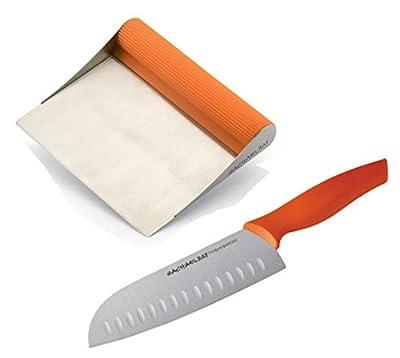 Premier Rachael Ray Scraper Shovel Spatula Set with Bonus 7-Inch Japanese Stainless Steel Santoku Knife.
