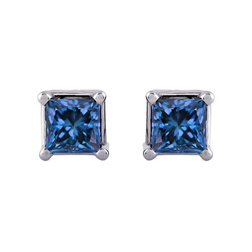 1 Ct. Blue - I1 Princess Cut Diamond Earring Studs In 14K White Gold