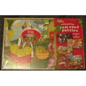 Sock Monkey Wood Puzzles Includes 3 Puzzles in 1
